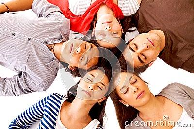 Friends sleeping on the floor