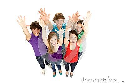 Friends waving hands