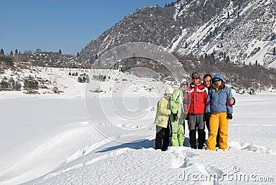 Friends in winter mountain
