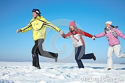 Friends on winter resort
