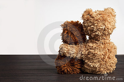 Friendship 2 teddy bears holding in one s arm