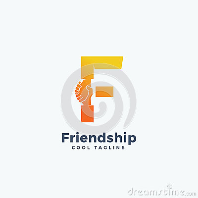 Friendship Abstract Vector Sign, Symbol or Logo Template. Hand Shake Incorporated in Letter F Concept. Vector Illustration