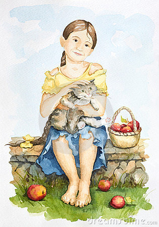 Free Friendship Of A Girl And A Cat Royalty Free Stock Image - 24149436