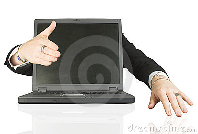 Frienly laptop welcoming you - handshake