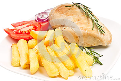 Fries, tomato, chicken fillets