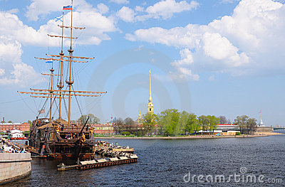 Frigate near Peter and Paul cathedral