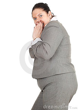 Frightened fat businesswoman
