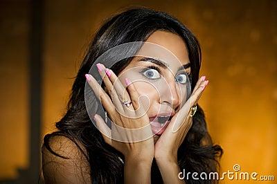 Frightened girl / Closeup portrait of surprised