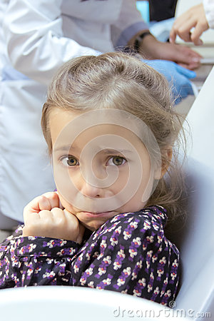 Frightened girl at dentist s