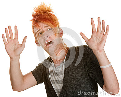 Frightened Man in Orange Hair