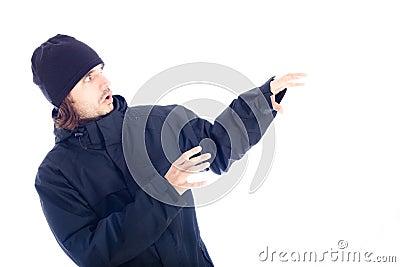 Frightened man in winter jacket