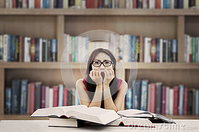 Frightened student in library