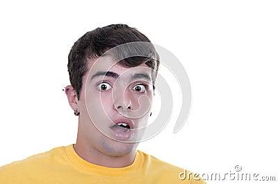 Frightened teenage boy