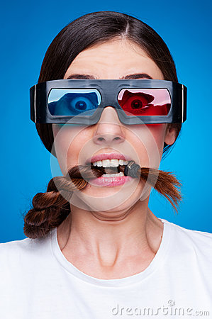 Frightened woman in 3d glasses