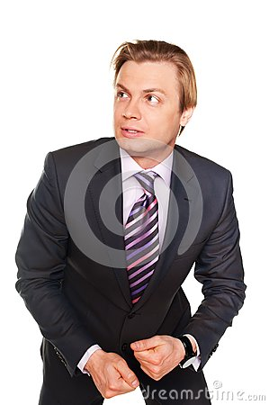 Frightened young businessman