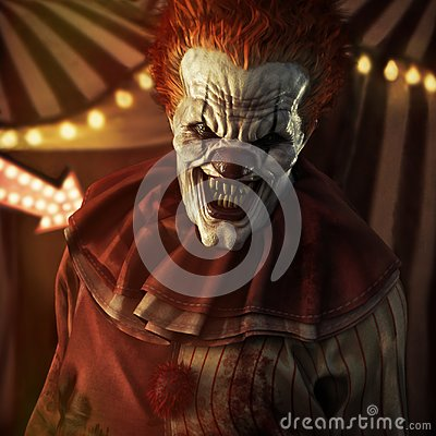 Free Frightening Evil Looking Clown Posing In Front Of A Circus Tent. Royalty Free Stock Images - 105809189