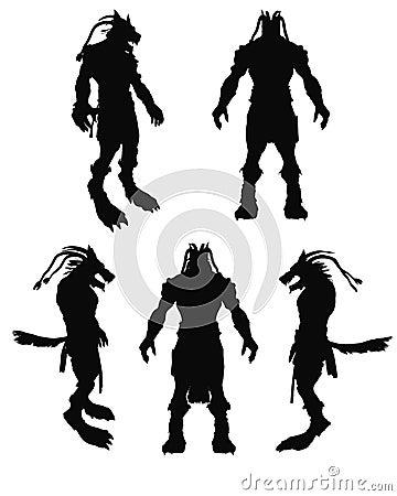 A frightening werewolf vector silhouette