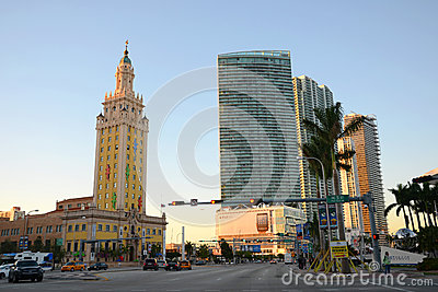 Frihet står hög i Miami Redaktionell Fotografering för Bildbyråer