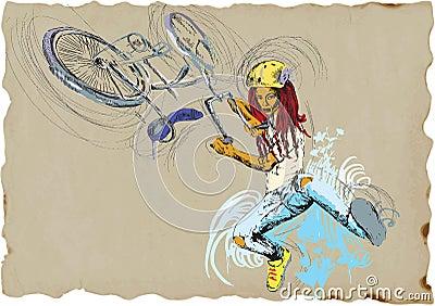 Fristiltrick - cykel - flicka