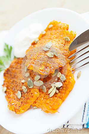 Fritters made with pumpkin seeds sprinkled