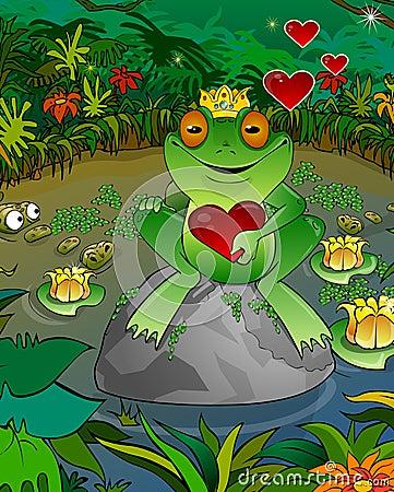 Frog on a background of a bog