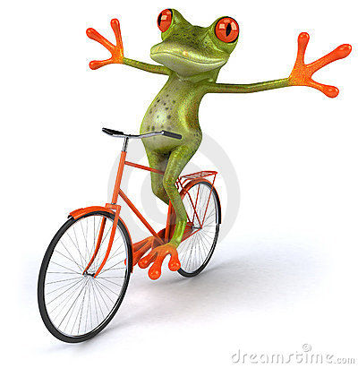 Frog with a bicycle