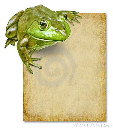 Frog with blank grunge old paper sign