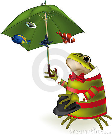 Frog the clown a parasol