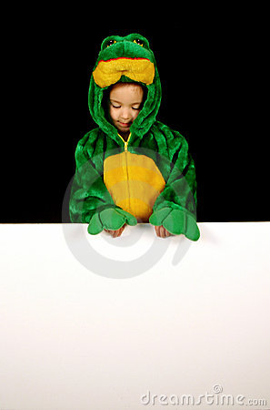 Frog Costume with Blank Sign