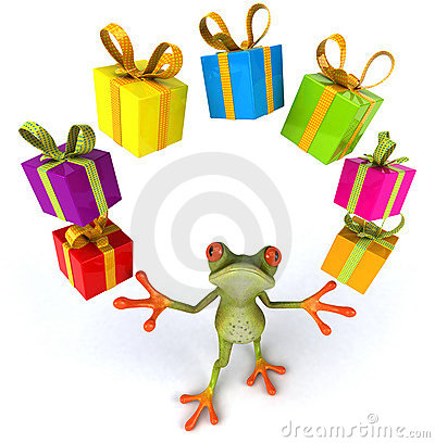 Frog and gifts