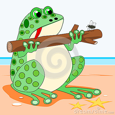 Frog holding a log