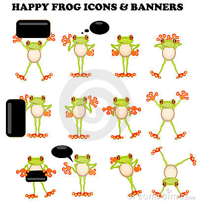 Frog  icons with a blank sign