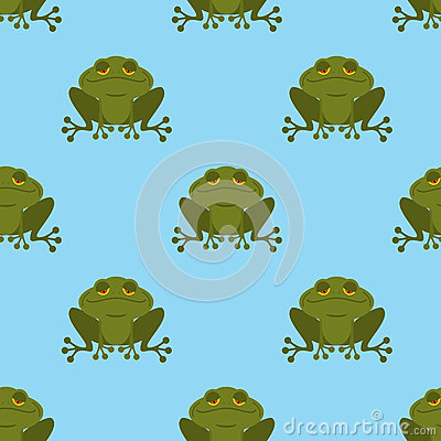 Free Frog In Water Seamless Pattern. Blue Lake And Green Toad. Texture For Childrens Fabric. Amphibious Reptile Background Stock Photos - 66615953