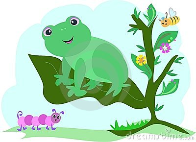 Frog on a Leaf with Caterpillar and Bee