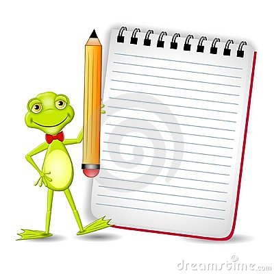 Frog With Notepad and Pencil
