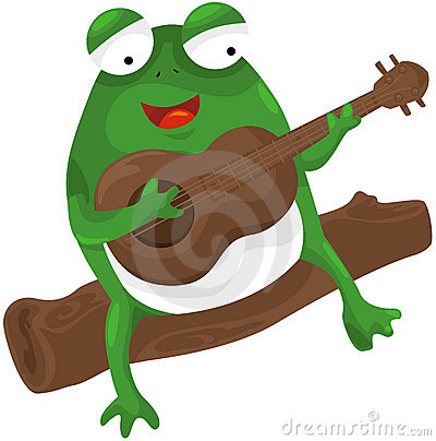 Frog playing a guitar