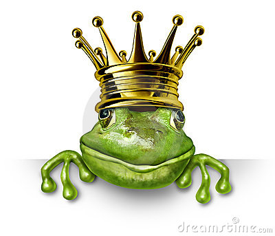 Frog prince with gold crown holding a blank sign