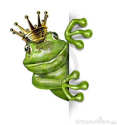 Frog Prince with Gold Crown Holding a Sign