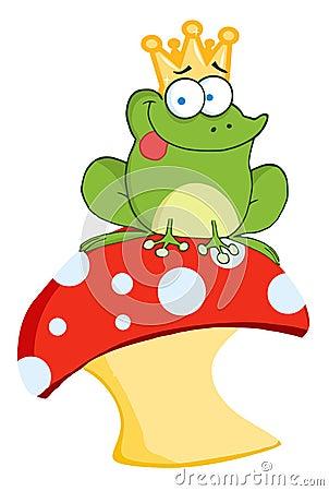 Frog prince sitting on a mushroom