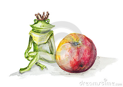 Frog  princess and red apple