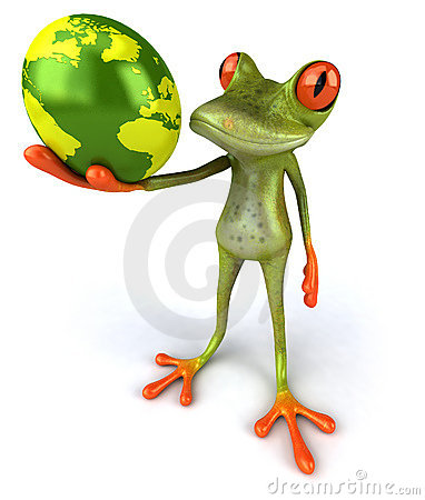 Frog protecting the earth