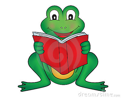 High detailed illustration of a green frog reading.