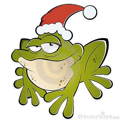 Frog with Santa hat