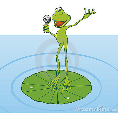 Frog singing in the pond