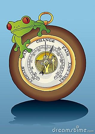 frog sitting on barometer
