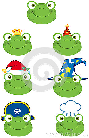 Free Frog Smiling Heads Collection Royalty Free Stock Images - 31620939