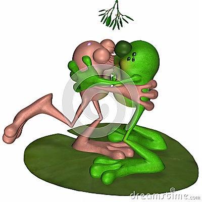 Frogs Kissing Under Mistletoe