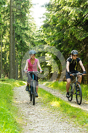 Frohe Radfahrerpaare im Holz