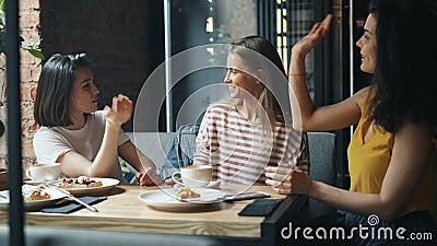 Frohe Studentenfrauen, die im Café dann lacht und tut hoch--fünf plaudern stock footage