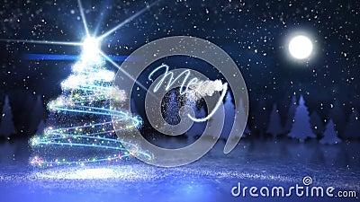 Frohe Weihnacht-Partikel schreiben mit dem Fliegen von Sankt